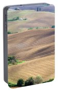 Tuscan Landscape With Plowed Fields Portable Battery Charger
