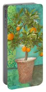 Tuscan Orange Topiary - Damask Pattern 2 Portable Battery Charger