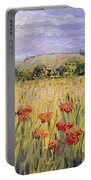 Tuscany Poppies Portable Battery Charger by Nadine Rippelmeyer