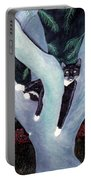 Tuxedo Cat In Mimosa Tree Portable Battery Charger by Karen Zuk Rosenblatt