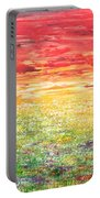 Twilight Bounds Softly Forth On The Wildflowers Portable Battery Charger