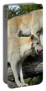 Twin Blond Wolves Portable Battery Charger