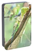 Two Adorable Budgie Parakeets Living In Nature Portable Battery Charger