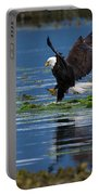 Two American Bald Eagle Touching Down At Low Tide Portable Battery Charger
