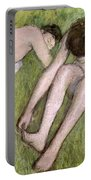 Two Bathers On The Grass Portable Battery Charger
