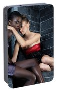 Two Beautiful Women Sitting Together Portable Battery Charger