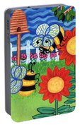 Two Bees With Red Flowers Portable Battery Charger