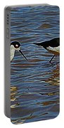 Two Black Neck Stilts  Portable Battery Charger