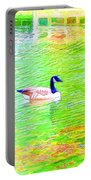 Two Canadian Geese In The Water Portable Battery Charger