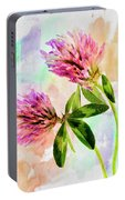 Two Clover Flowers With Pastel Shades. Portable Battery Charger