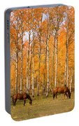 Two Colorado High Country Autumn Horses Portable Battery Charger