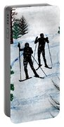 Two Cross Country Skiers In Snow Squall Portable Battery Charger