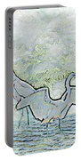Two Egrets In Water I Glow Brilliant On White II Portable Battery Charger