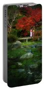 Two Girls In Kimono Standing On A Bridge In Japanese Garden In A Portable Battery Charger