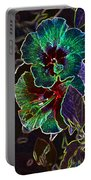 Two Hibiscus Glowing Edges Abstract Portable Battery Charger