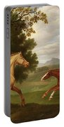 Two Horses In A Landscape Portable Battery Charger