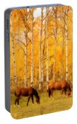 Two Horses In The Autumn Colors Portable Battery Charger