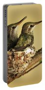 Two Hummingbird Babies In A Nest Portable Battery Charger