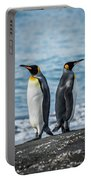 Two King Penguins Facing In Opposite Directions Portable Battery Charger