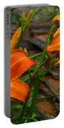 Two Orange Daylilies Portable Battery Charger