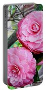 Two Pink Camellias - Digital Art Portable Battery Charger