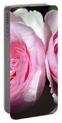 Two Pink Roses Portable Battery Charger
