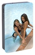 Two Pretty Women In A Pool. Portable Battery Charger