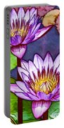 Two Purple Lotus Flower Portable Battery Charger