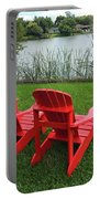 Two Red Chairs Overlooking Lake Formosa Portable Battery Charger