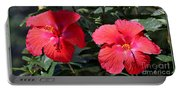 Two Red Hibiscus With Border Portable Battery Charger