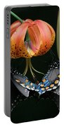 Two Spicebush Swallowtail Butterflies On A Turks Cap Lily Portable Battery Charger