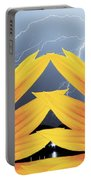Two Sunflower Lightning Storm Portable Battery Charger by James BO  Insogna