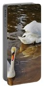 Two Swans On Spring Water Portable Battery Charger
