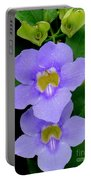 Two Thunbergia With Dew Drops Portable Battery Charger