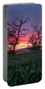 Two Trees In A Purple Sunset Portable Battery Charger