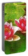 Two Waterlily Flower Portable Battery Charger