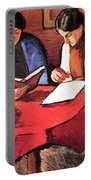 Two Women At The Table By August Macke Portable Battery Charger