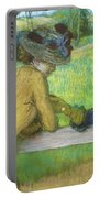 Two Women Leaning On A Gate Portable Battery Charger by Edgar Degas