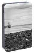 Tynemouth Pier Landscape In Monochrome Portable Battery Charger