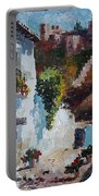 Typical Street Of Granada. Original Acrylic On Paper Portable Battery Charger