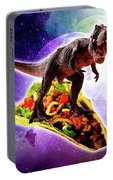Tyrannosaurus Rex Dinosaur Riding Taco In Space Portable Battery Charger