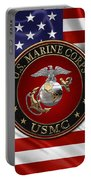 U. S.  Marine Corps - C O And Warrant Officer E G A Special Edition Over U. S.  Flag Portable Battery Charger