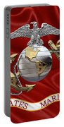 U. S.  Marine Corps - C O And Warrant Officer Eagle Globe And Anchor Over Corps Flag Portable Battery Charger