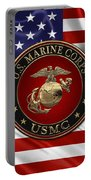 U. S.  Marine Corps - N C O   E G A Special Edition Over  U. S.  Flag Portable Battery Charger