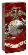 U. S.  Marine Corps - U S M C Eagle Globe And Anchor Over Corps Flag Portable Battery Charger