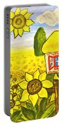 Ukrainian House With Sunflowers Portable Battery Charger