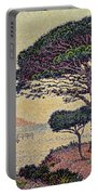 Umbrella Pines At Caroubiers Portable Battery Charger by Paul Signac