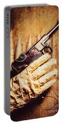 Undead Mummy  Holding Handgun Against Wooden Wall Portable Battery Charger