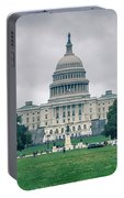 United States Capitol Building On A Foggy Day Portable Battery Charger