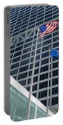 Us Bank With Flags Portable Battery Charger